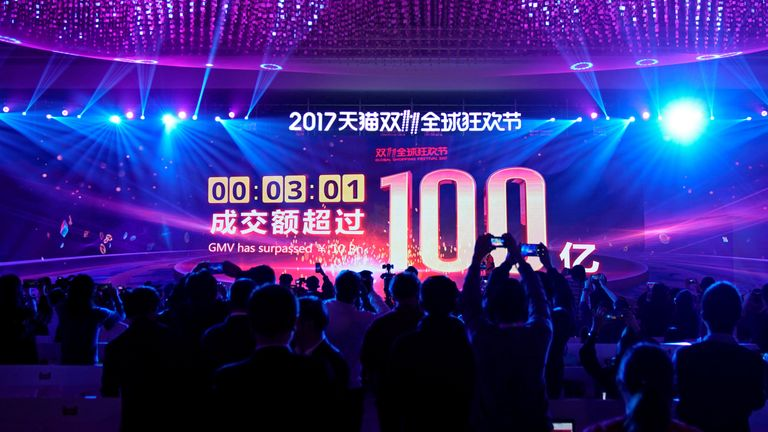 A screen shows the value of goods being sold at Alibaba Group's Singles' Day global shopping festival