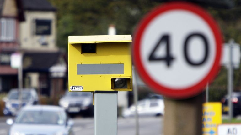 A speed camera in Bretby, central England