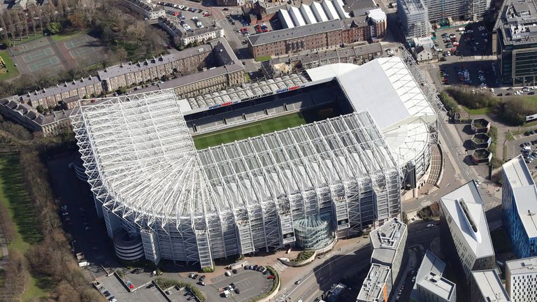 An aerial view of St James' Park home of Newcastle United football club