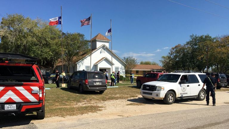 The First Baptist Church of Sutherland Springs in South Texas