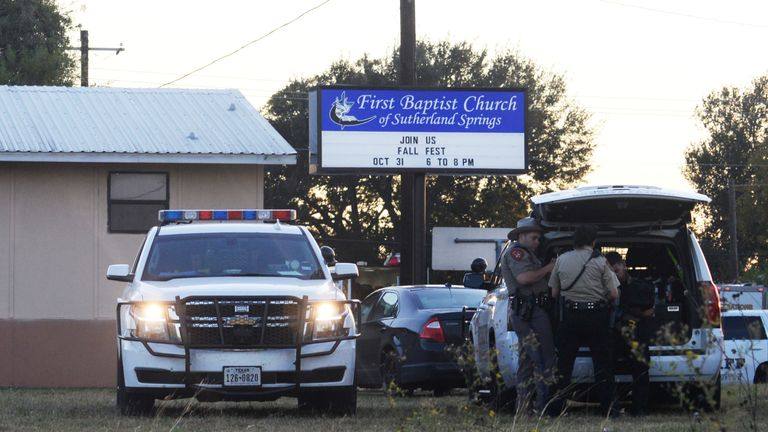 Police at the scene of a shooting at the First Baptist Church in Sutherland Springs, Texas