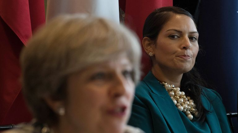 Overseas Development secretary Priti Patel (right) attends a meeting chaired by Prime Minister Theresa May and UN Secretary General Antonio Guterres in 2017