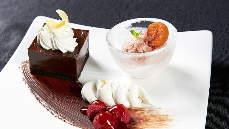 Triple chocolate cake and cinnamon granite