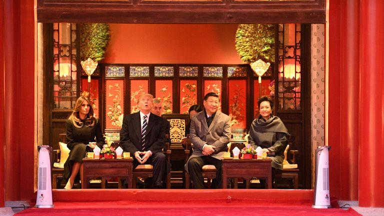 Melania Trump, Donald Trump, Xi Jinping and his wife Peng Liyuan in the Forbidden City in Beijing