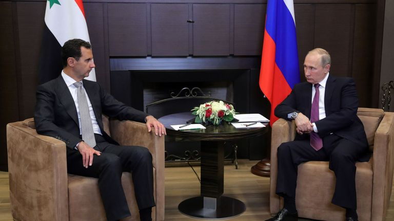 Russia's President Vladimir Putin during a meeting with Syrian leader Bashar al-Assad