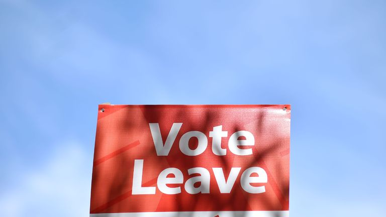 A 'Vote Leave' sign is seen by the roadside near Charing urging people to vote for Brexit in the upcoming EU referendum is seen on the roadside near Charing south east of London on June 16, 2016. Britain goes to the polls in a week on June 23 to vote to leave or remain in the European Union. / AFP PHOTO / BEN STANSALL (Photo credit should read BEN STANSALL/AFP/Getty Images)