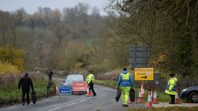 Police at the scene of the crash near Waddesdon