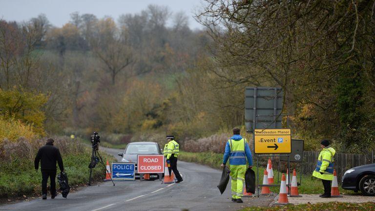 Police at the scene of the crash near Waddesdon