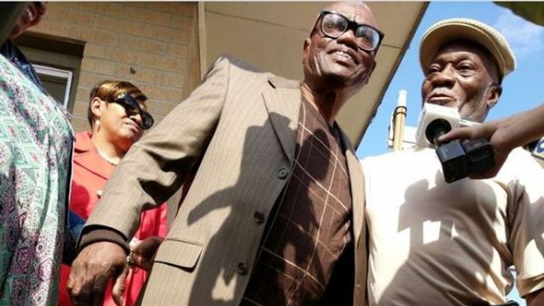 Wilbert Jones has walked free from prison after a judge overturned his conviction for a 1971 crime. Pic: Innocence Project New Orleans