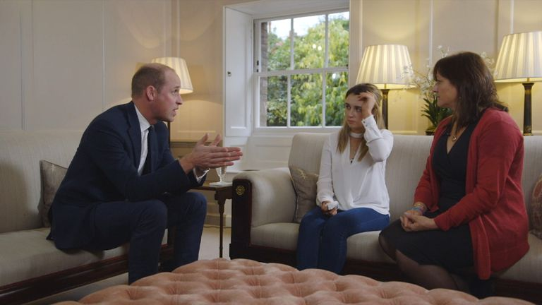 Prince William speaks to campaigners Lucy Alexander and Chloe Hine