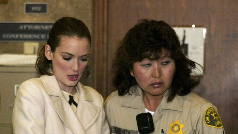 Winona Ryder in court on shoplifting charges in 2002