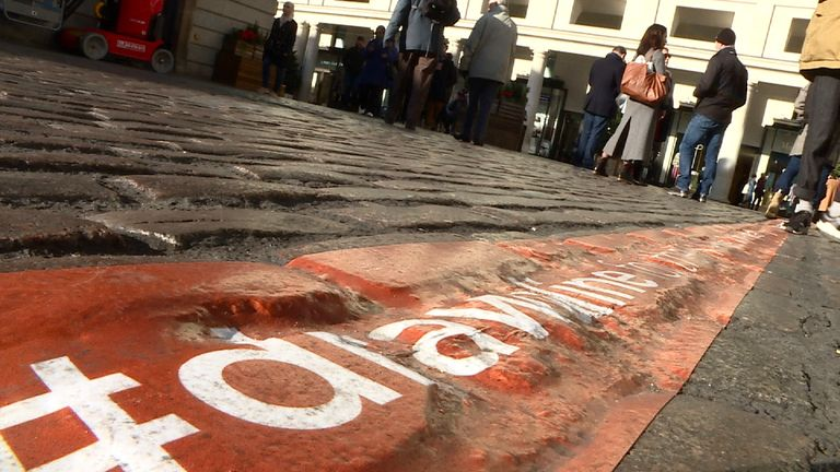 The DrawALine campaign in London's Covent Garden, regarding violence against women