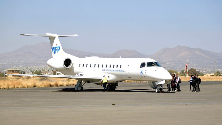 A United Nations' World Food Programme (WFP) plane after landing in Sanaa
