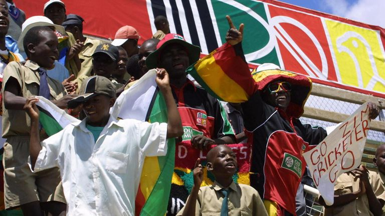Colourful Zimbabwean supporters in Harare in November 2004