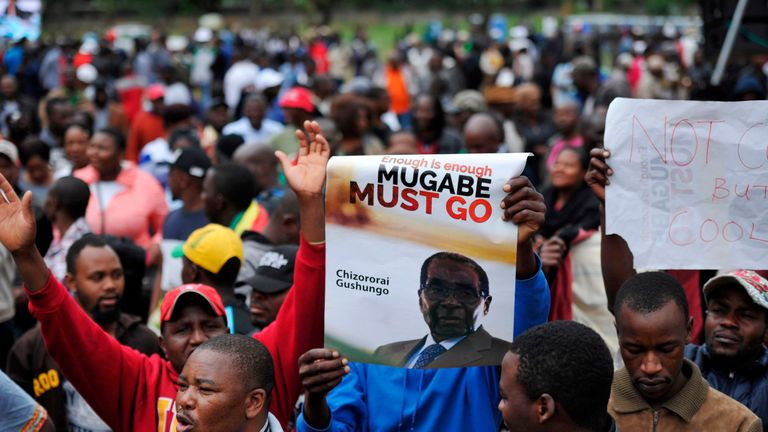 Thousands of taken part in a protest march calling for Robert Mugabe to resign as Zimbabwe president