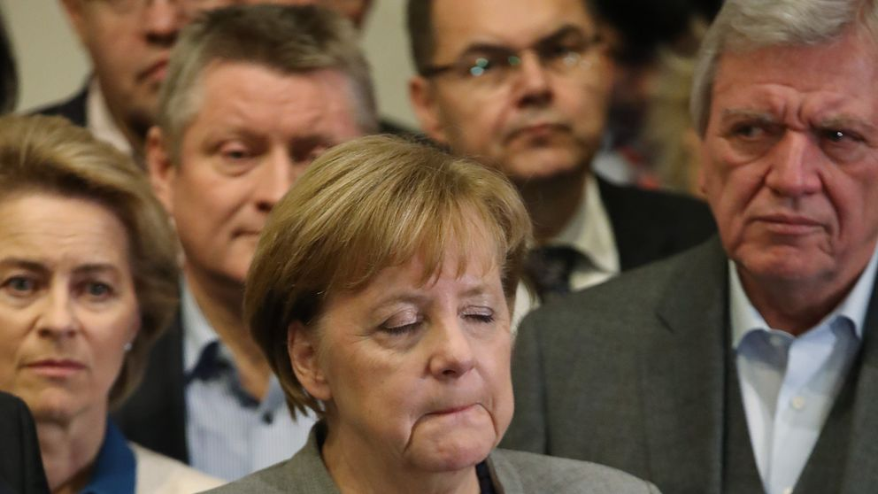 Angela Merkel after she announced talks about a coalition had collapsed