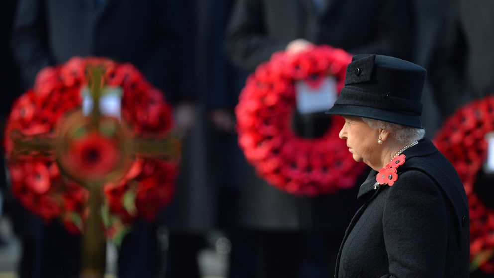 The Queen lays a wreath during the Remembrance Sunday service at the Cenotaph