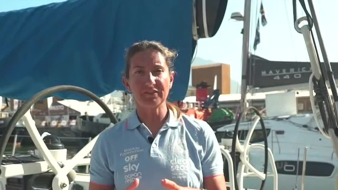 Dee Caffari,  skipper of Turn the Tide on Plastic racing yacht