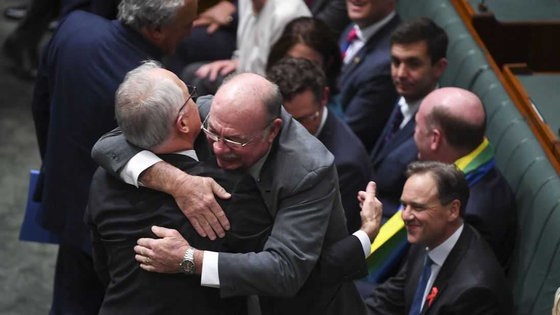Australian MPs as the same sex marriage bill is passed