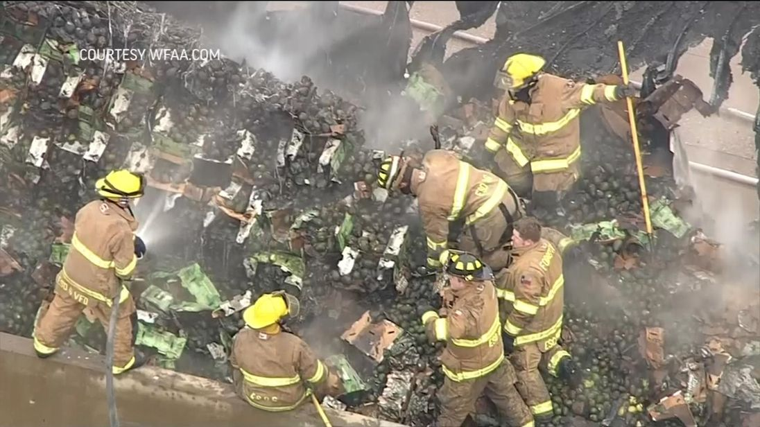 40,000 pounds of avocados spilled across a motorway in Central Texas when the truck hauling them crashed and caught fire.