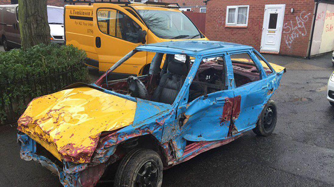 Car Manufacturers Derby Mail: Rolling Wreck: Battered Car With No Windows, Plates Or