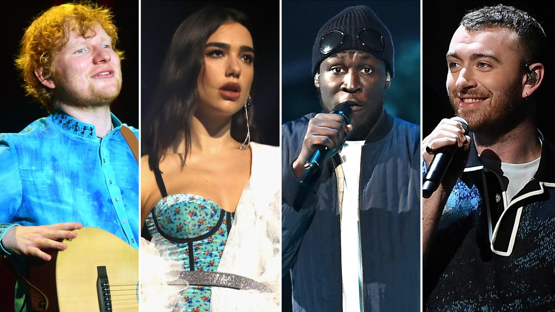 Ed Sheeran, Dua Lipa, Stormzy, and Sam Smith