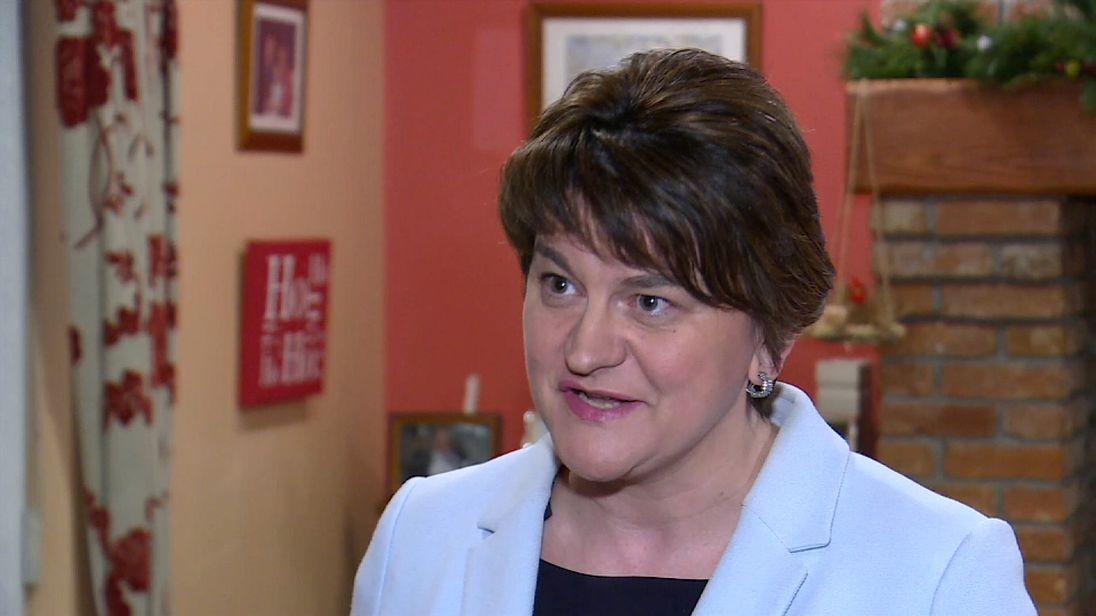 DUP Leader Arlene Foster talking in interview.