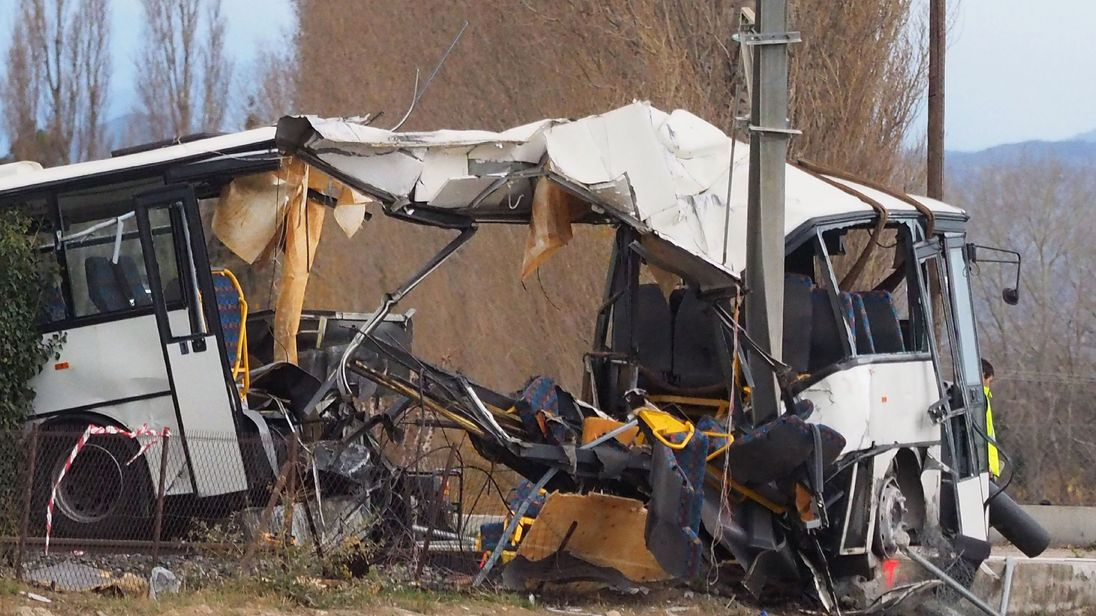 The wreckage of a school bus