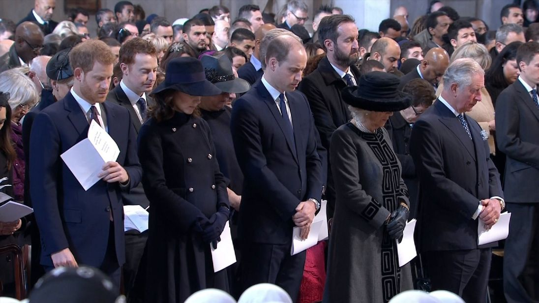 The Duke and Duchess of Cambridge, Prince Harry, the Prince of Wales and the Duchess of Cornwall attended the Grenfell Tower memorial