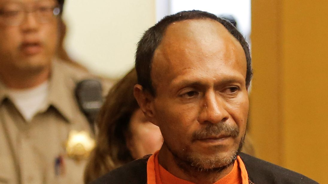 Jose Ines Garcia Zarate, arrested in connection with the July 1, 2015, shooting of Kate Steinle on a pier in San Francisco is led into the Hall of Justice for his arraignment in San Francisco, California, U.S. on July 7, 2015