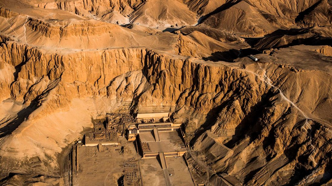 An aerial picture taken from a hot air balloon on September 10, 2017 shows the Temple of Hatshepsut, also known as the Djeser-Djeseru ('Holy of Holies') in the southern Egyptian town of Luxor. / AFP PHOTO / KHALED DESOUKI (Photo credit should read KHALED DESOUKI/AFP/Getty Images)
