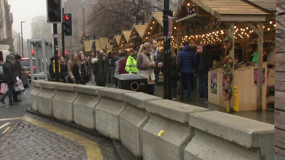 Barriers set up in Manchester city centre