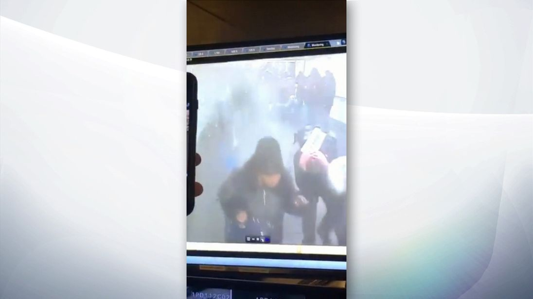 CCTV has emerged of the moment a pipe bomb exploded at New York's Port Authority.
