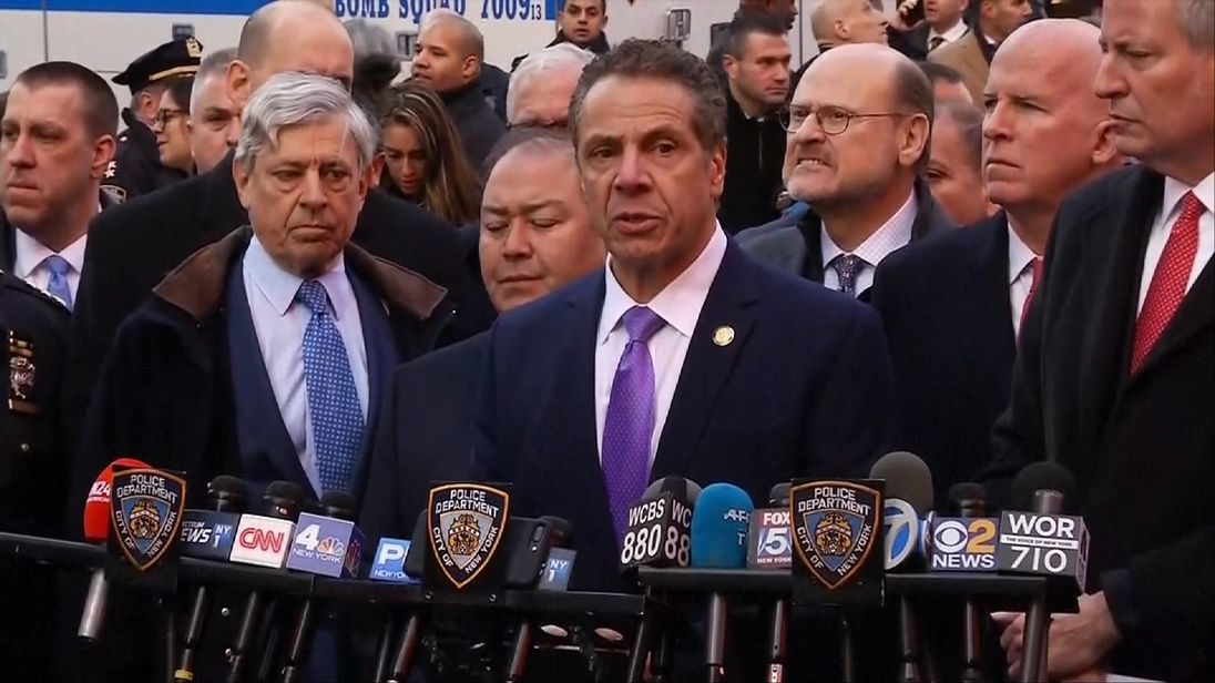 New York Governor Andrew Cuomo speak sat a press conference after an attewmpted terror attack on the subway