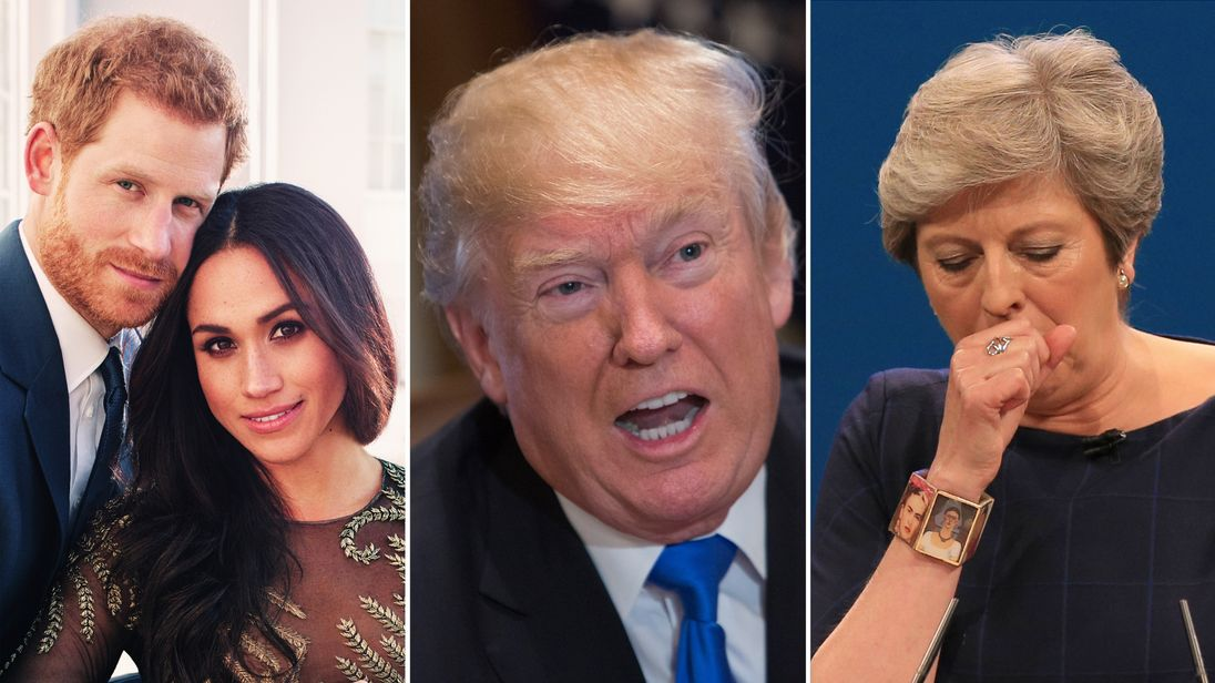 Prince Harry and Meghan Markle, Donald Trump and Theresa May featured among the big news stories of 2017.