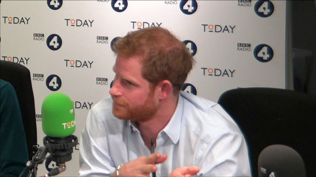 Prince Harry being interviewed on Radio 4's Today programme