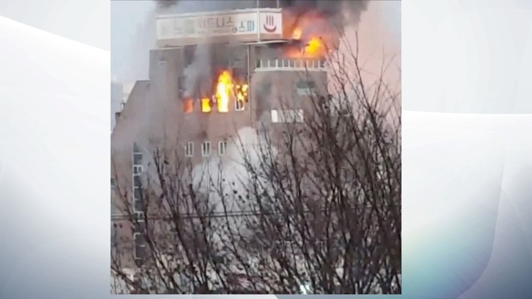 A fire broke out Thursday at an eight-story building in the central South Korean city of Jecheon