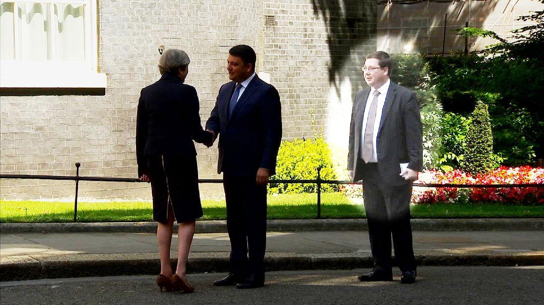 (L-R) Theresa May, Volodymyr Groysman and Stanislav Yezhov