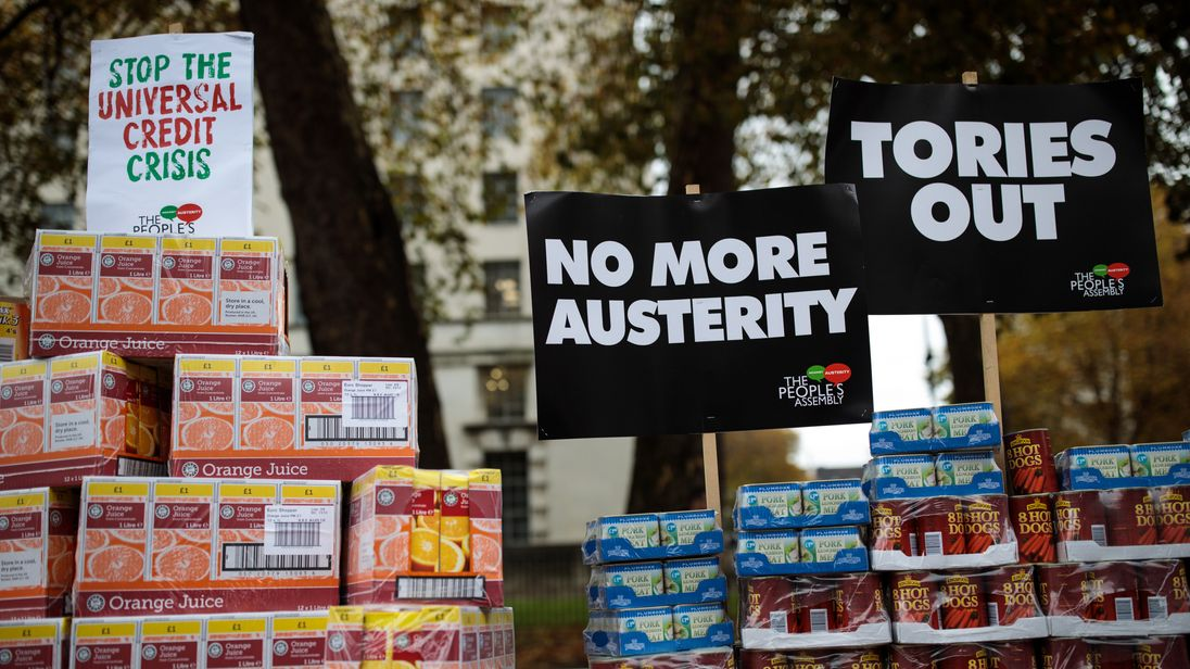 Protesters in London ahead of the Budget announcement in November 2017