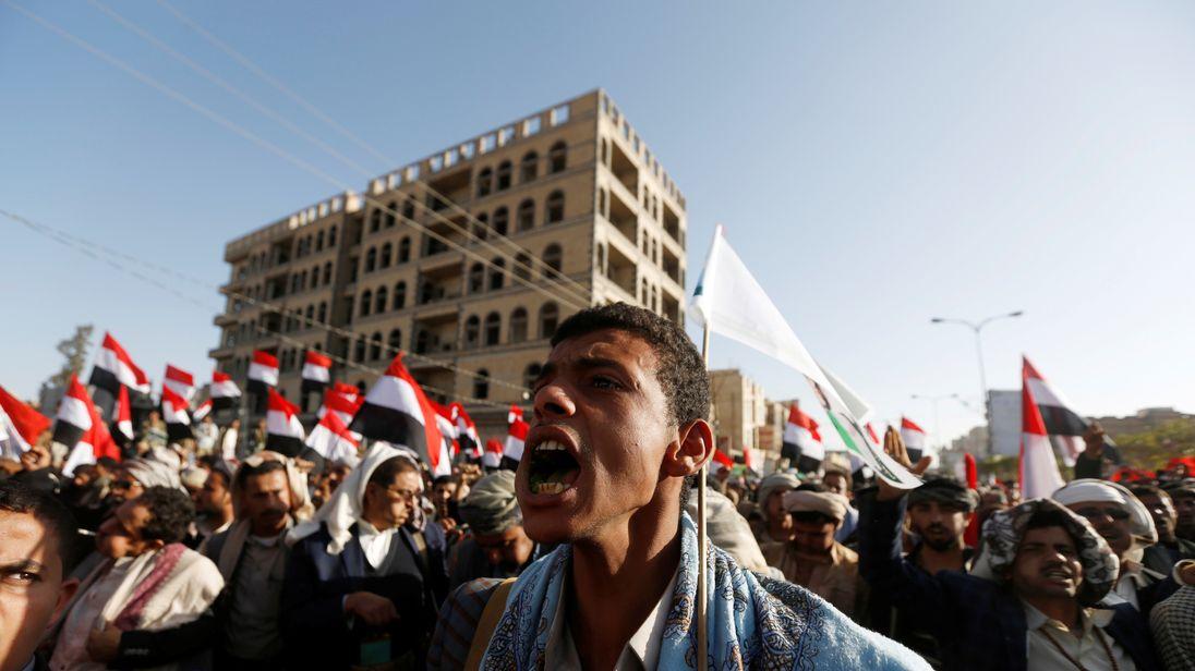 Houthi rebel supporters celebrated the death of former Yemen president Ali Abdullah Saleh