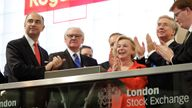 Donald Brydon (r) pictured with Xavier Rolet at the LSE in 2015. Pic: Royal Mail