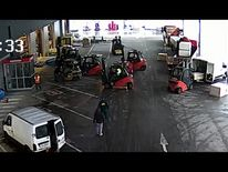 The forklift drivers blocked in the thieves to prevent their escape