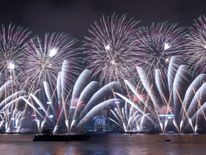 Fireworks explode over Victoria harbour during New Year celebrations in Hong Kong on January 1, 2018.