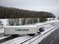 A lorry stuck on the A14 in Northampton