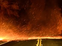 Embers spread across a roadway from a Santa Ana wind-driven brush fire