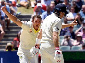 Australia's paceman Josh Hazlewood celebrates dismissing England batsman Chris Woakes on the final day of the second test