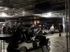 Passengers were left in darkness after the power cut on Sunday