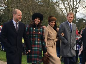 Meghan Markle walked arm-in-arm with Prince Harry, alongside the Duke and Duchess of Cambridge. Pic: GoffPhotos.com