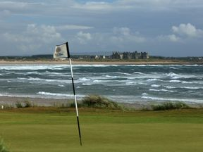 A flag sways in the breeze on Mr Trump's course in Doonbeg