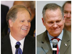 Doug Jones (L) and Roy Moore (R) at their respective election night parties in Birmingham and Montgomery